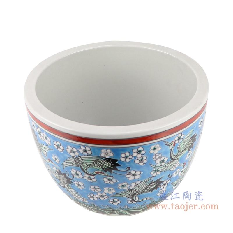 RZJH09-B粉彩蓝色水缸养鱼泥盆百鹤图干花花盆缸顶部