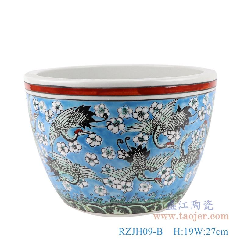 RZJH09-B粉彩蓝色水缸养鱼泥盆百鹤图干花花盆缸正面