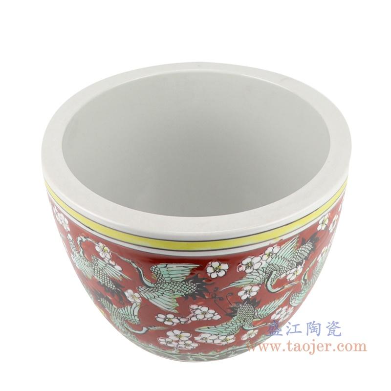 RZJH09-C 粉彩红色鱼缸水缸养鱼泥盆百鹤图干花花盆缸顶部