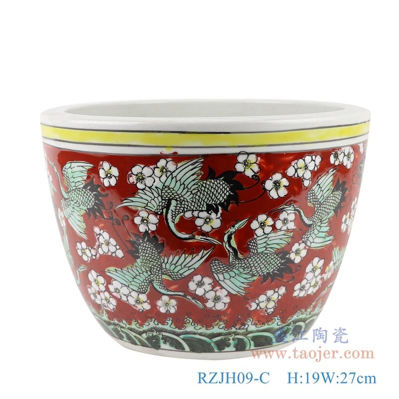 RZJH09-C 粉彩红色鱼缸水缸养鱼泥盆百鹤图干花花盆缸正面