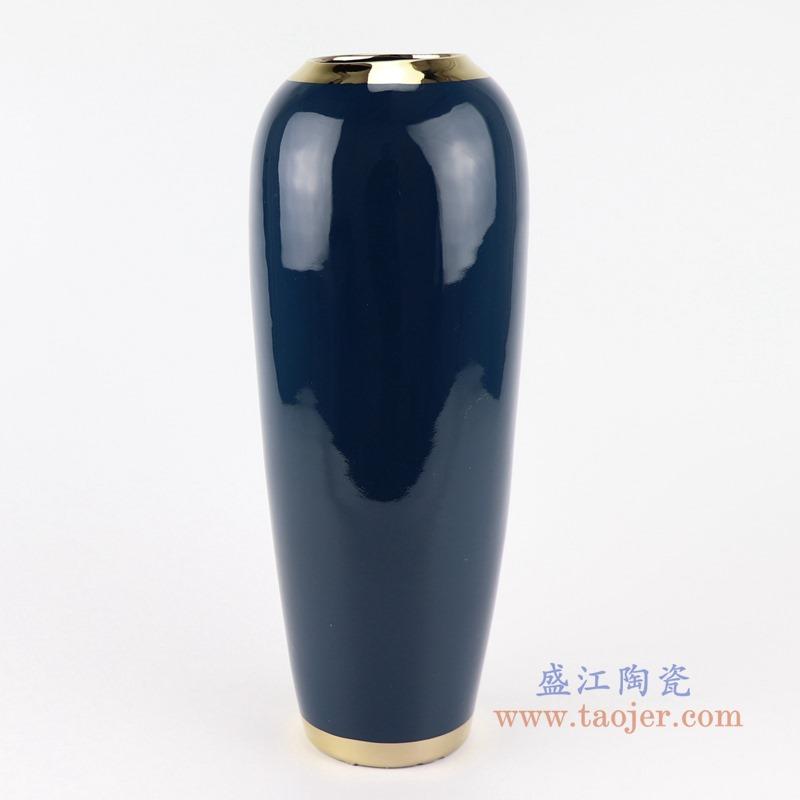 RZST01-A 大号 颜色釉深蓝色镀金花器三件套正面