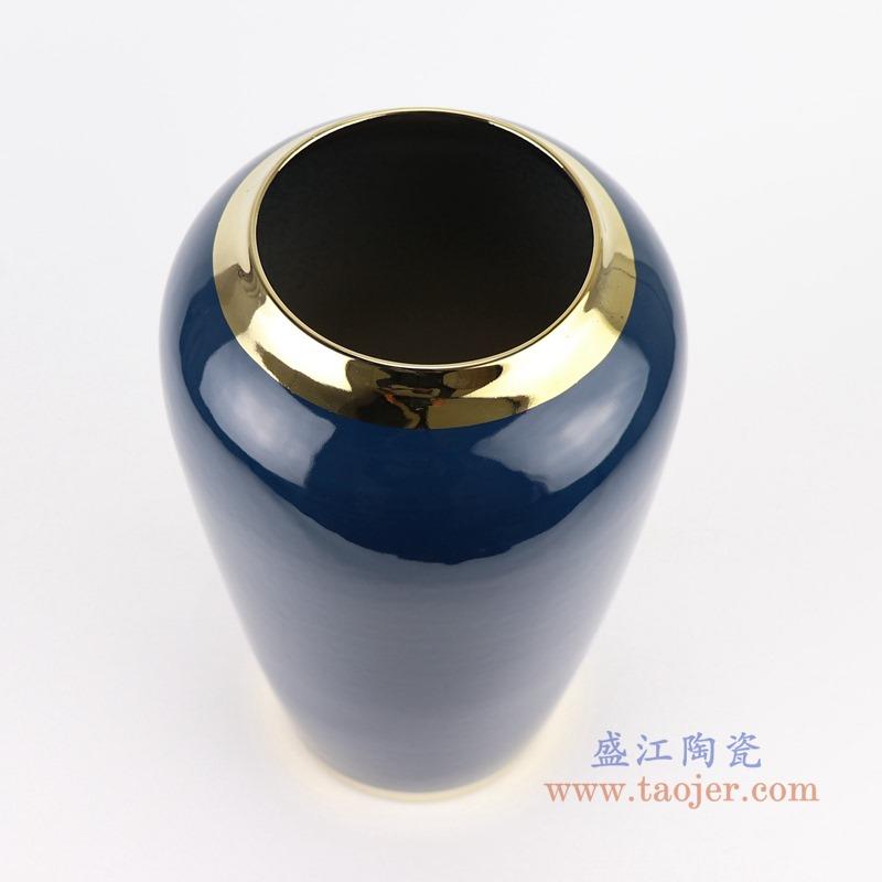 RZST01-A 大号 颜色釉深蓝色镀金花器三件套顶部