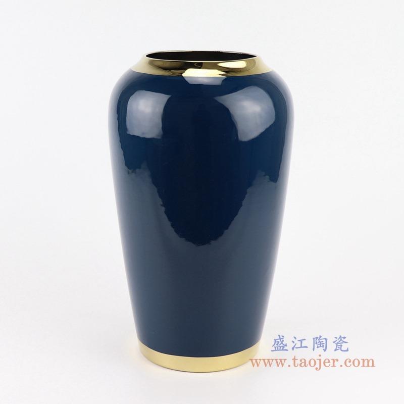 RZST01-A  中号颜色釉深蓝色镀金花器三件套