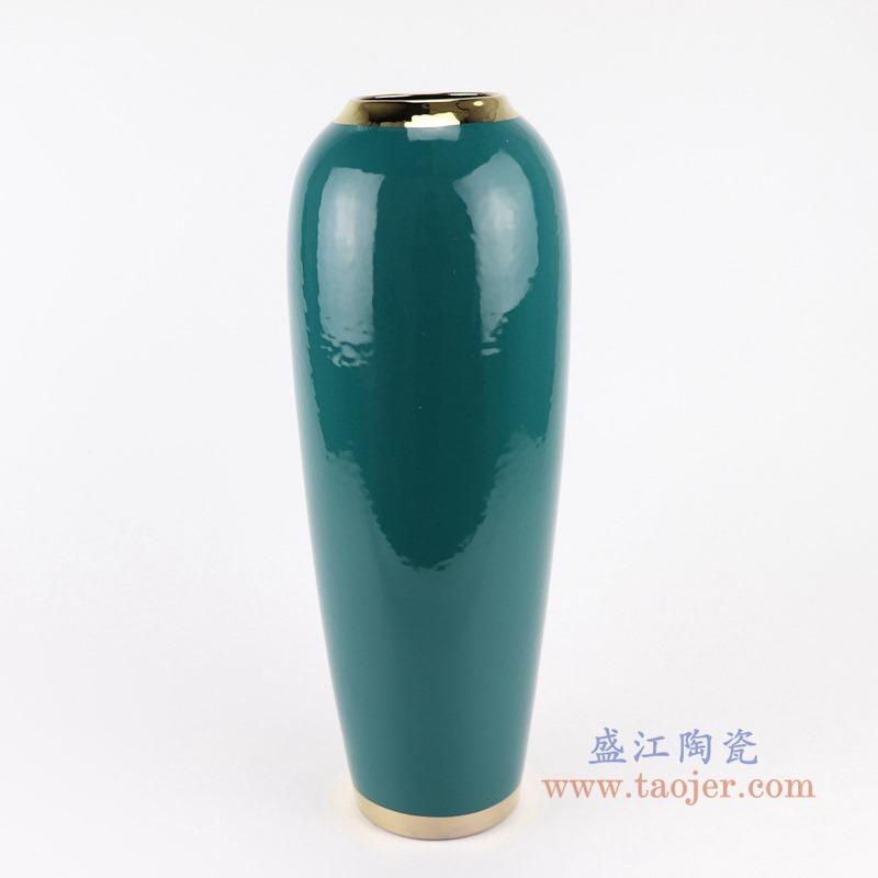 RZST01-B大号颜色釉绿色镀金花器三件套正面