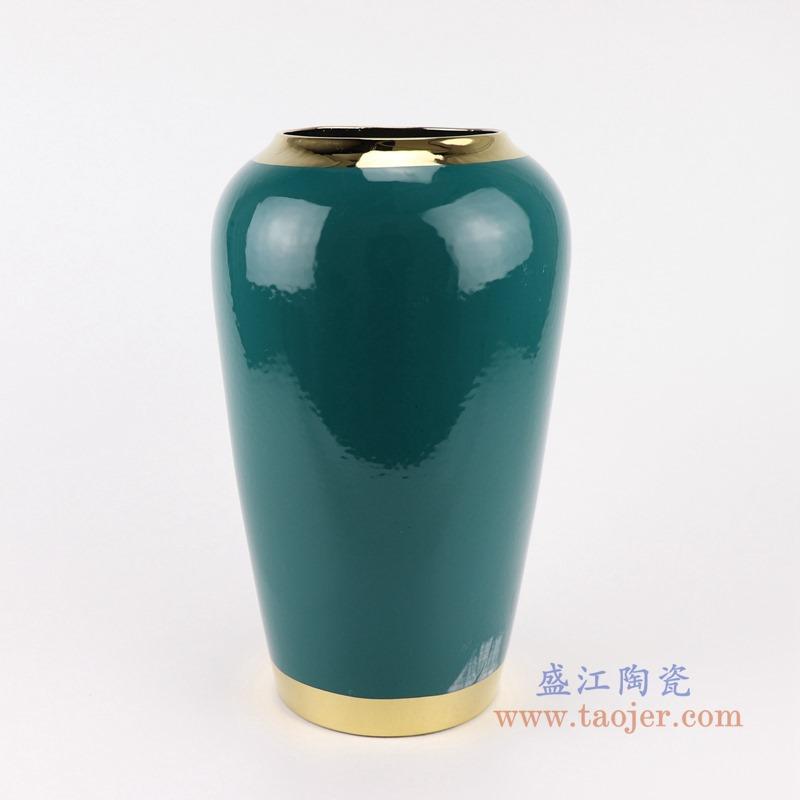RZST01-B中号颜色釉绿色镀金花器三件套正面