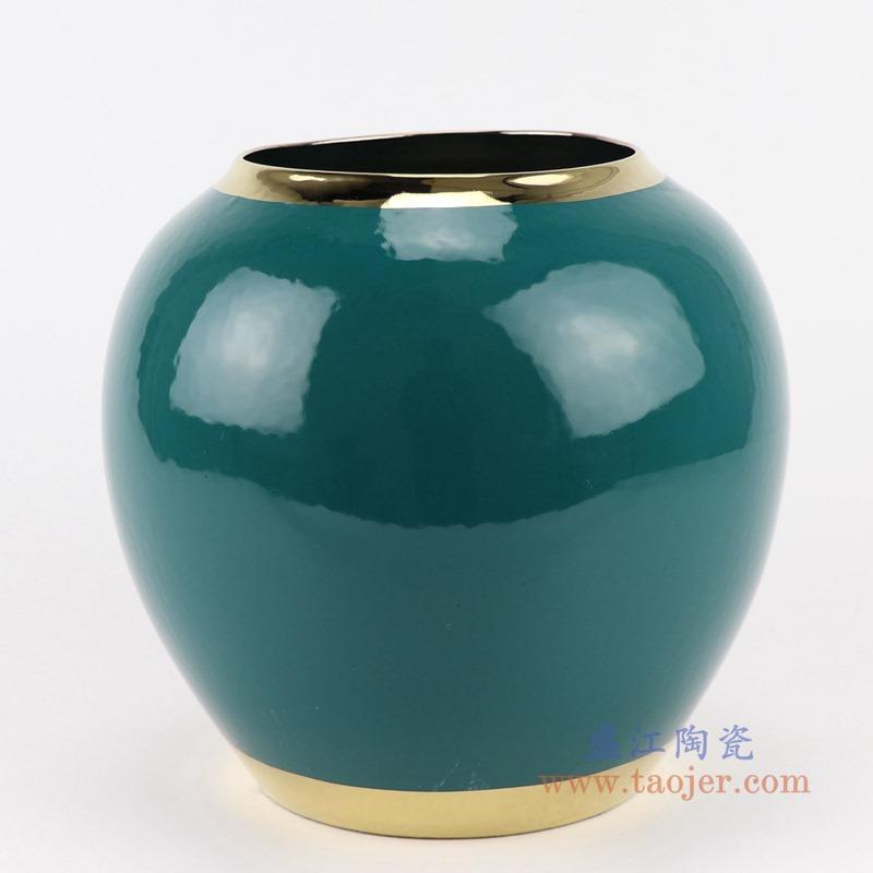 RZST01-B小号颜色釉绿色镀金花器三件套正面