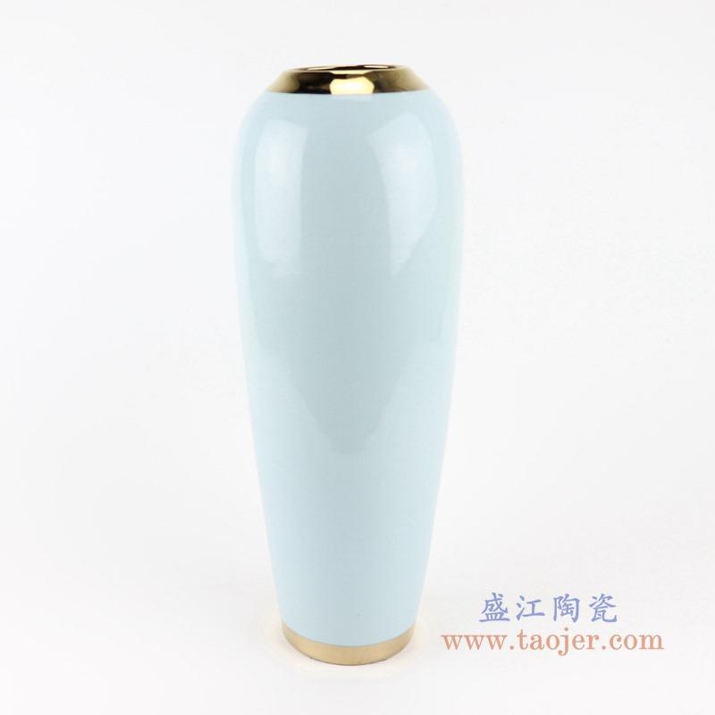 RZST01-C大号颜色釉白色镀金花器三件套正面