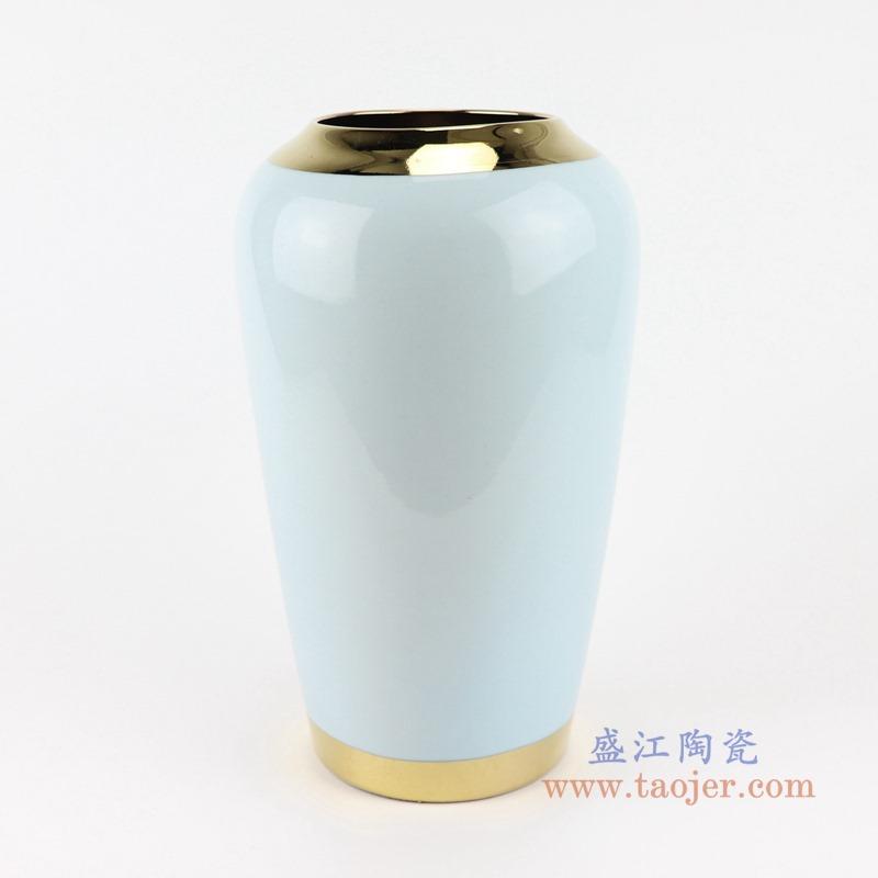 RZST01-C中号颜色釉白色镀金花器三件套正面