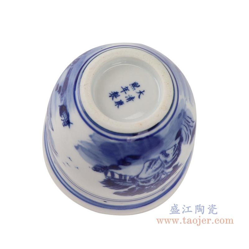 RYLU192-A青花山水小花顶部盆盆栽底部