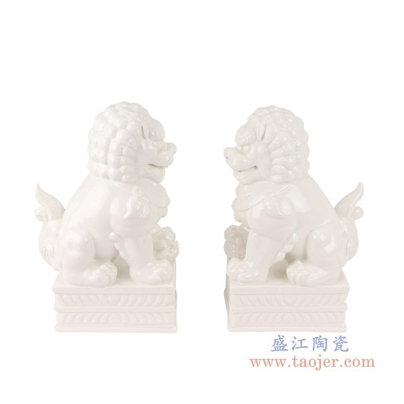 RZSV02纯色雕塑雕刻白狮子一对大号侧面