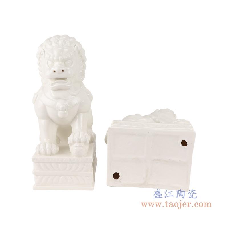 RZSV02纯色雕塑雕刻白狮子一对大号底部