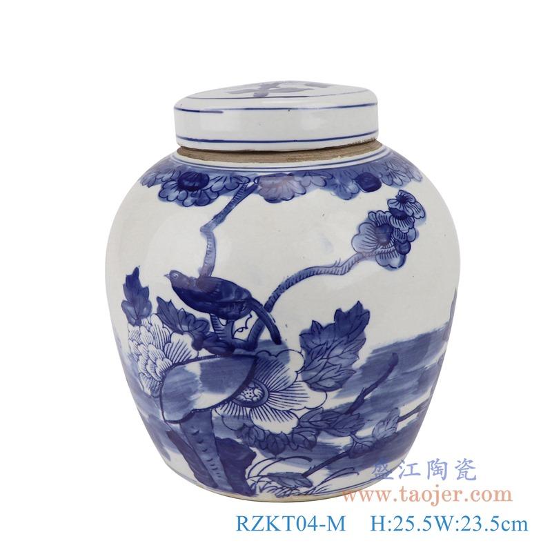 RZKT04-M青花花鸟储蓄罐正面