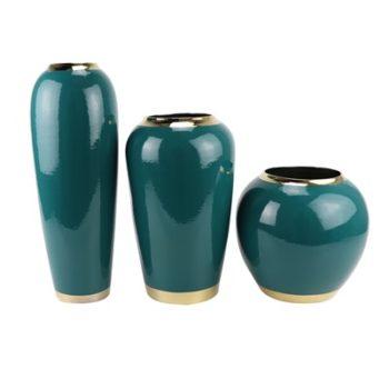 RZST01-B颜色釉绿色镀金花器三件套