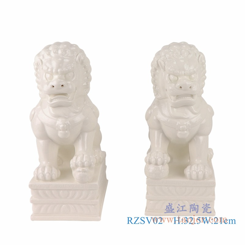 RZSV02纯色雕塑雕刻白狮子一对大号正面