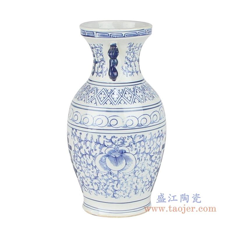 RZKT39青花缠枝喜字纹双耳花瓶侧面