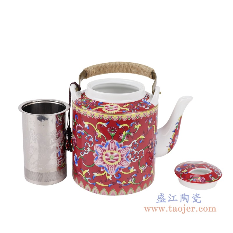 RZRZ03红底珐琅彩缠枝牡丹纹乔良壶提梁壶水壶茶壶小号分解图