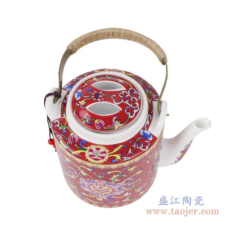 RZRZ03红底珐琅彩缠枝牡丹纹乔良壶提梁壶水壶茶壶小号顶部