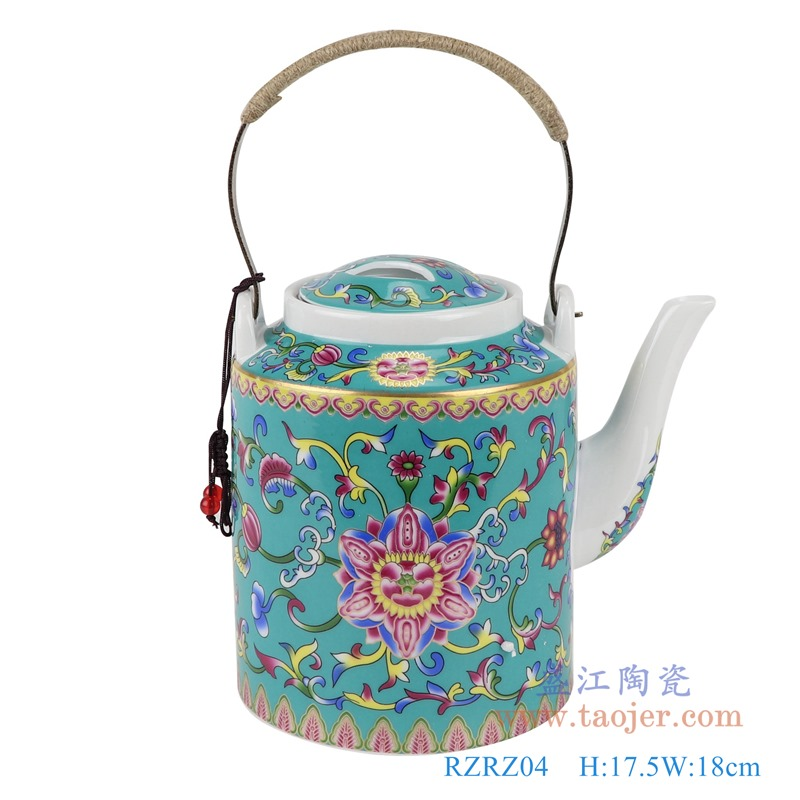 RZRZ04绿底珐琅彩缠枝牡丹纹乔良壶提梁壶水壶茶壶中号正面
