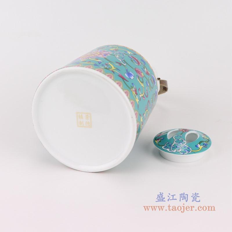 RZRZ04绿底珐琅彩缠枝牡丹纹乔良壶提梁壶水壶茶壶中号底部