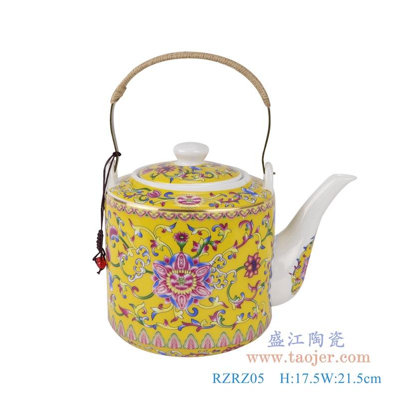 RZRZ03红底珐琅彩缠枝牡丹纹乔良壶提梁壶水壶茶壶小中大号