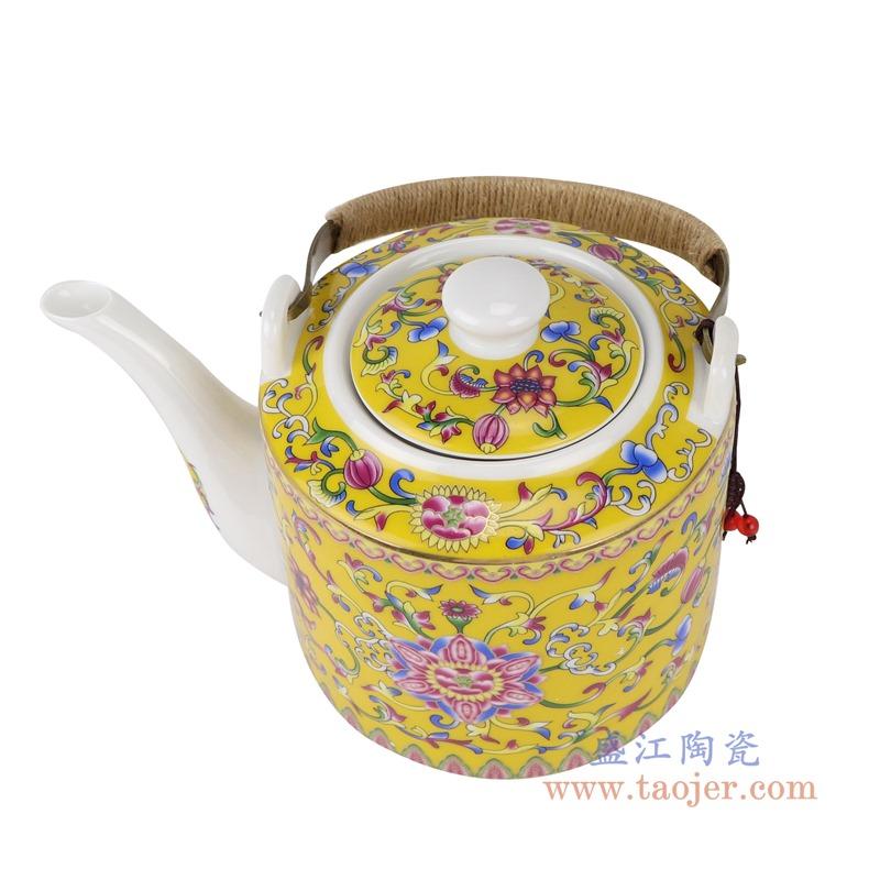 RZRZ05黄底珐琅彩缠枝牡丹纹乔良壶提梁壶水壶茶壶大号顶部