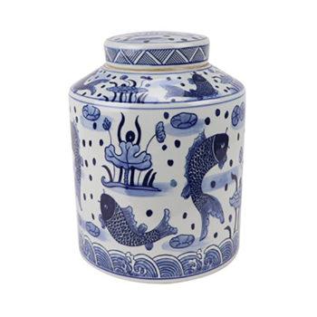 RZSI07青花鱼藻纹荷花茶叶罐储物罐