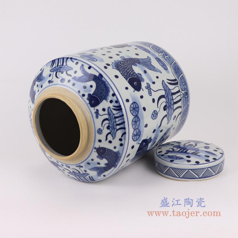 RZSI07青花鱼藻纹荷花茶叶罐储物罐顶部