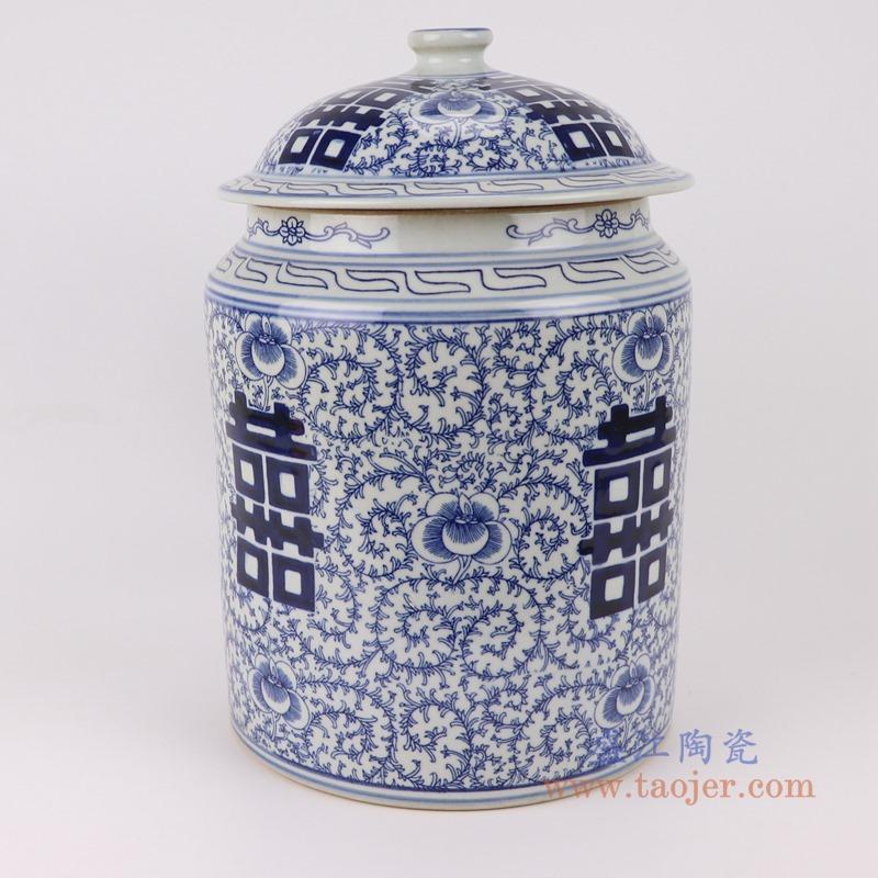 RZSI08青花缠枝喜字纹盖罐储物罐茶叶罐侧面