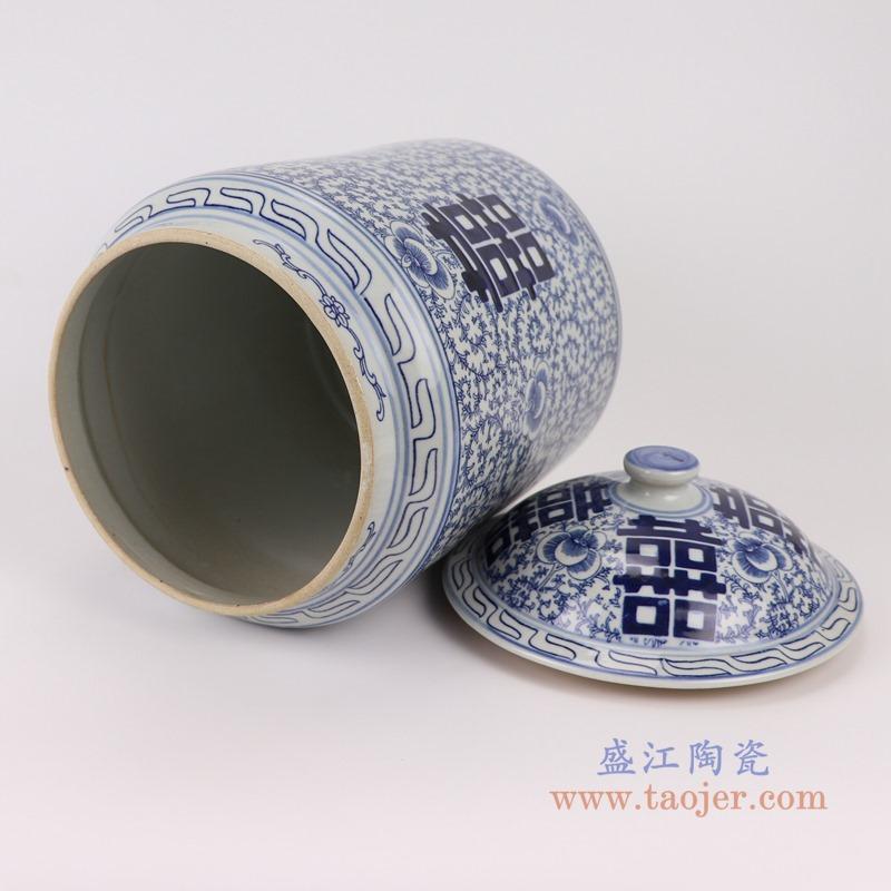 RZSI08青花缠枝喜字纹盖罐储物罐茶叶罐顶部