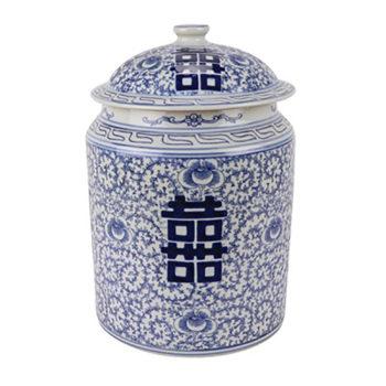 RZSI08青花缠枝喜字纹盖罐储物罐茶叶罐