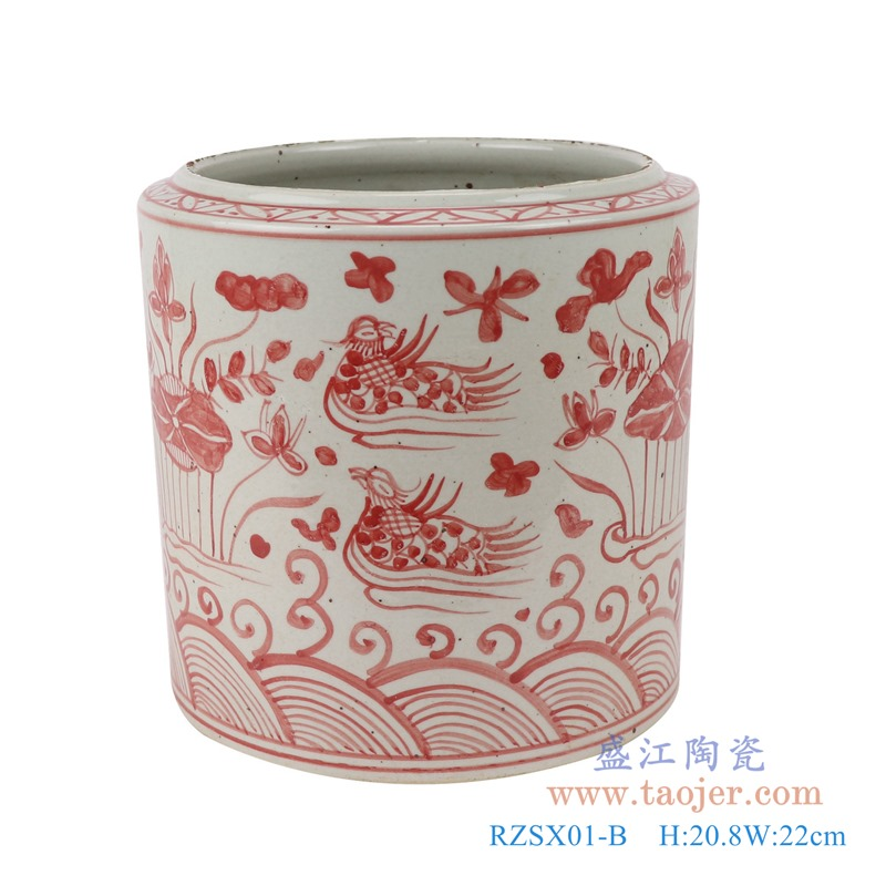 RZSX01-B矾红荷花鸳鸯戏水纹笔筒正面