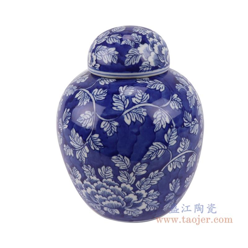 RYLU198-A青花冰梅牡丹茶叶储物罐宝珠坛侧面