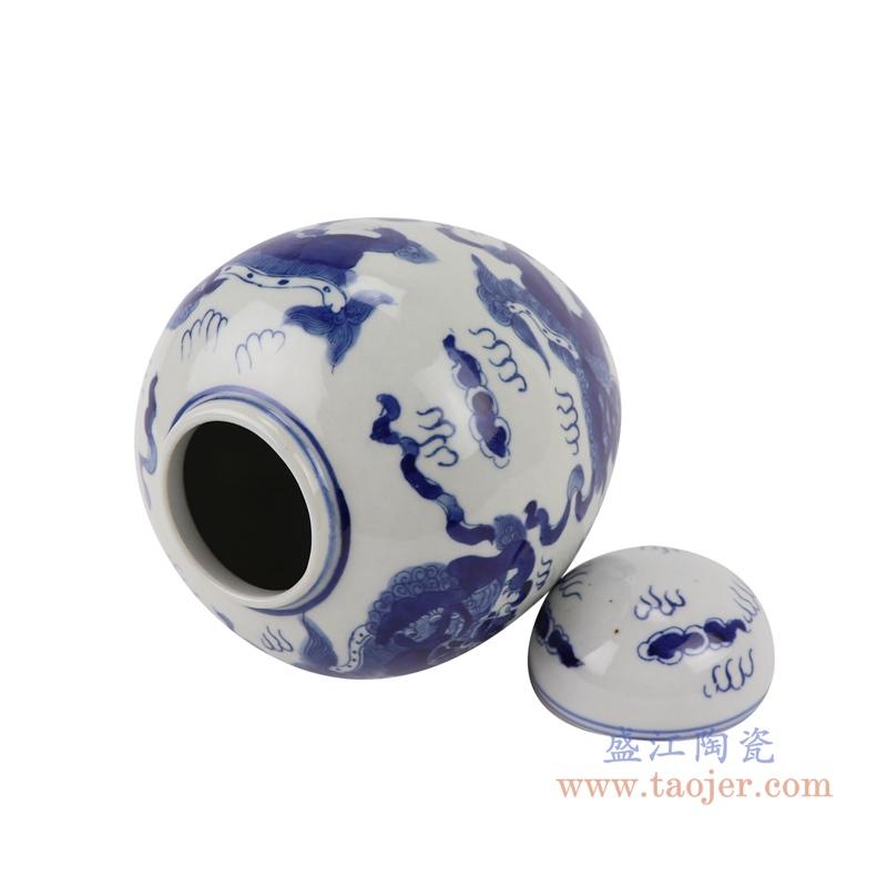 RYLU198-B青花狮子茶叶罐储物罐宝珠坛顶部