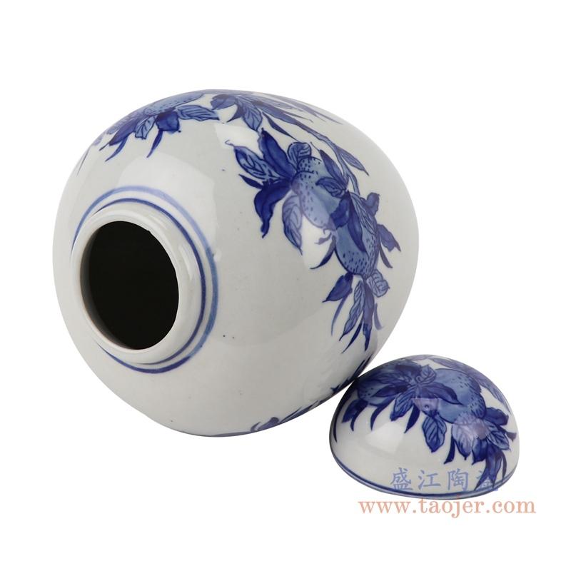 RYLU198-C青花仙桃纹茶叶罐储物罐宝珠坛顶部