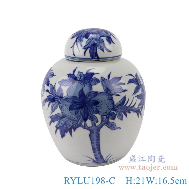 RYLU198-C青花仙桃纹茶叶罐储物罐宝珠坛正面