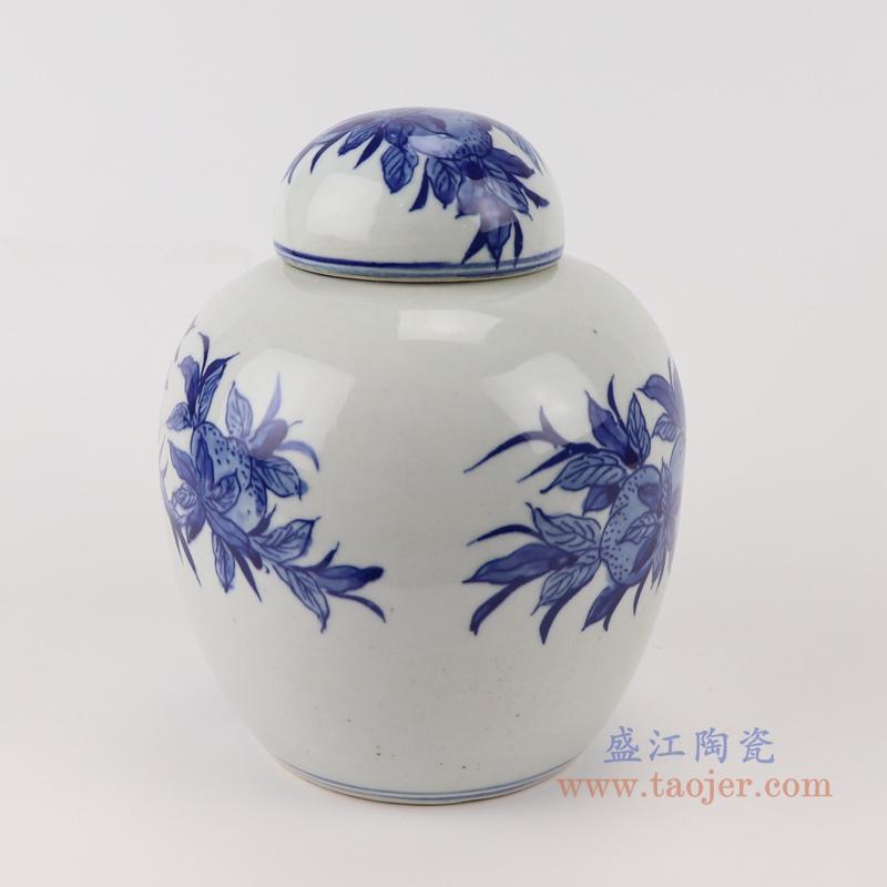 RYLU198-C青花仙桃纹茶叶罐储物罐宝珠坛侧面