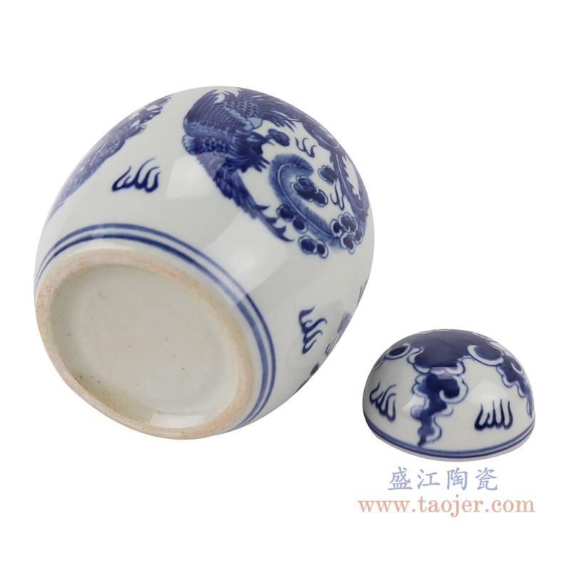 RYLU198-D青花龙凤纹茶叶罐储物罐宝珠坛底部