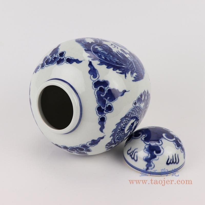 RYLU198-D青花龙凤纹茶叶罐储物罐宝珠坛顶部
