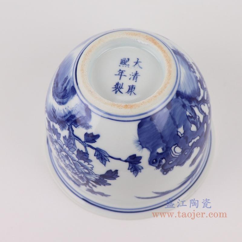 RYLU199-A青花牡丹花鸟花盆底部