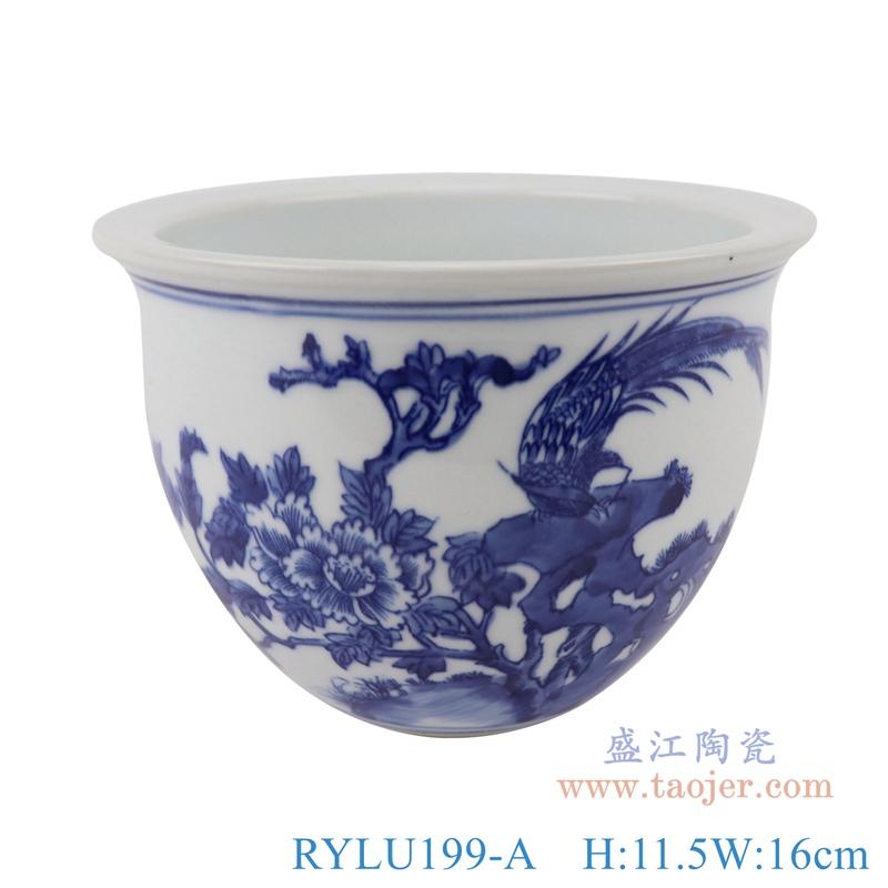 RYLU199-A青花牡丹花鸟花盆正面