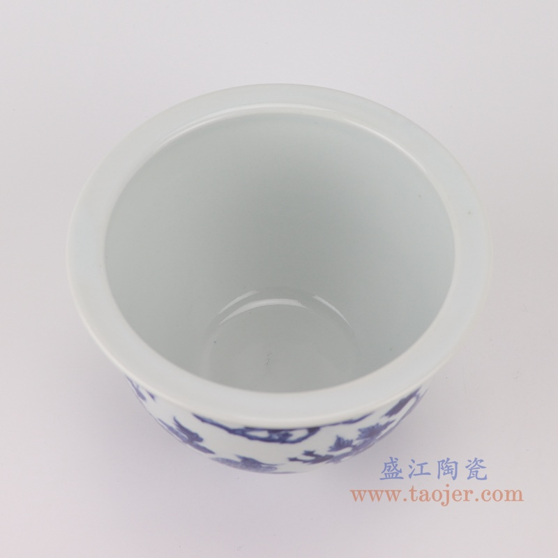 RYLU199-A青花牡丹花鸟花盆顶部