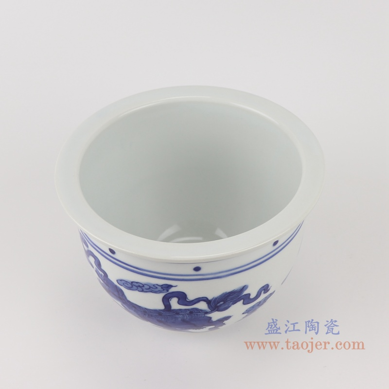 RYLU199-B青花狮子纹花盆顶部