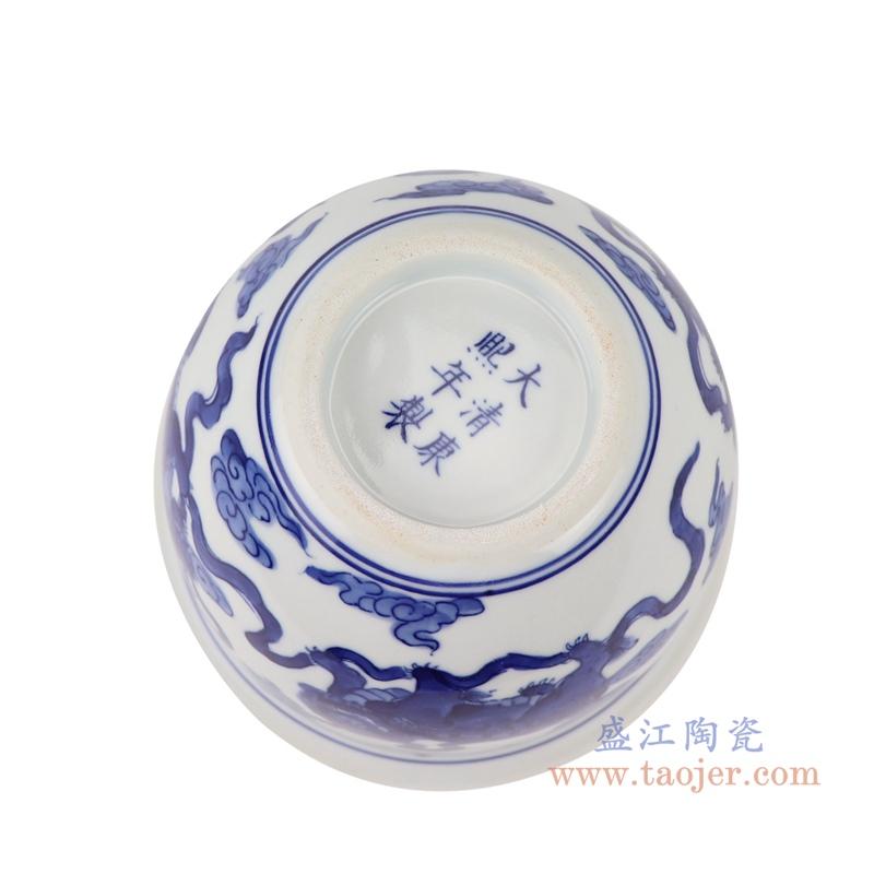 RYLU199-B青花狮子纹花盆底部