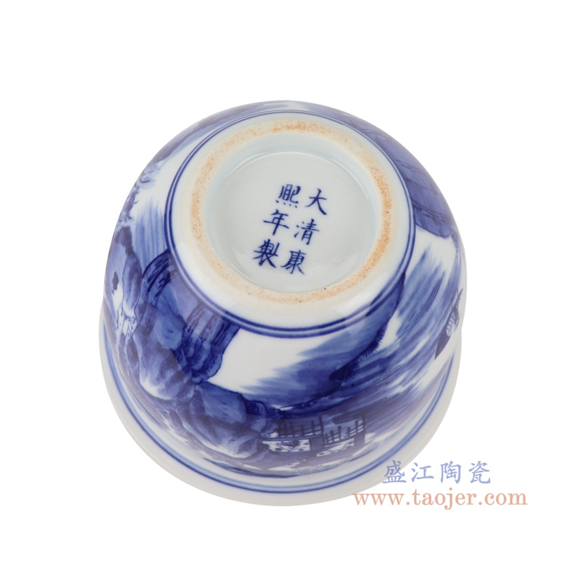 RYLU199-E青花山水花盆底部