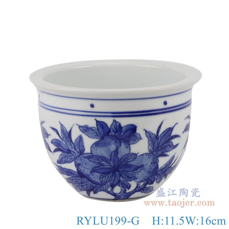RYLU199-G青花仙桃花盆正面