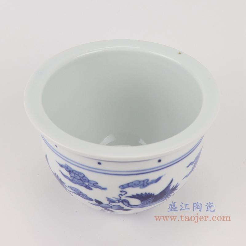RYLU199-H 青花双凤呈祥花盆顶部