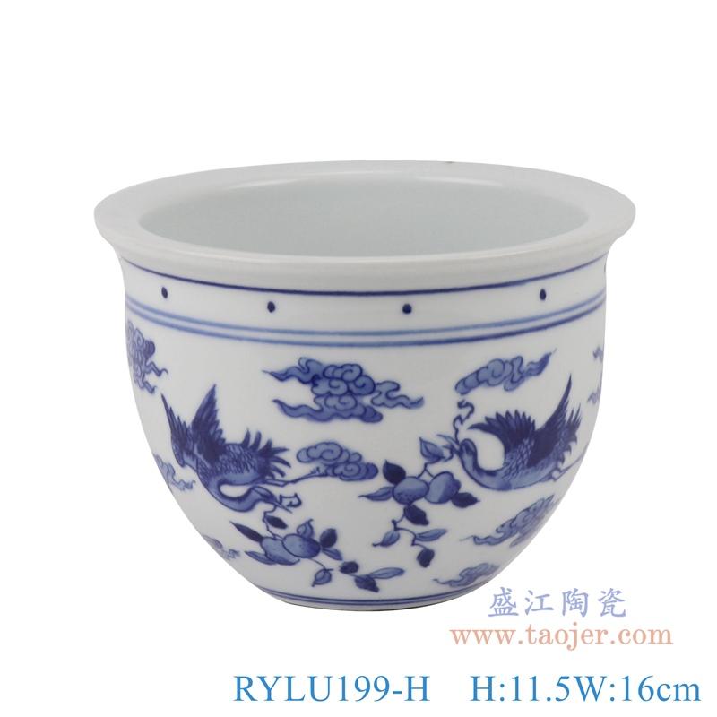 RYLU199-H 青花双凤呈祥花盆正面