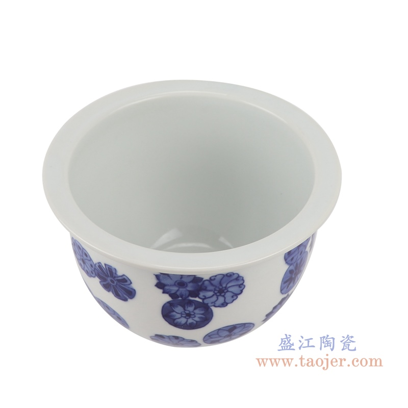 RYLU199-J青花荷花睡莲花花盆顶部