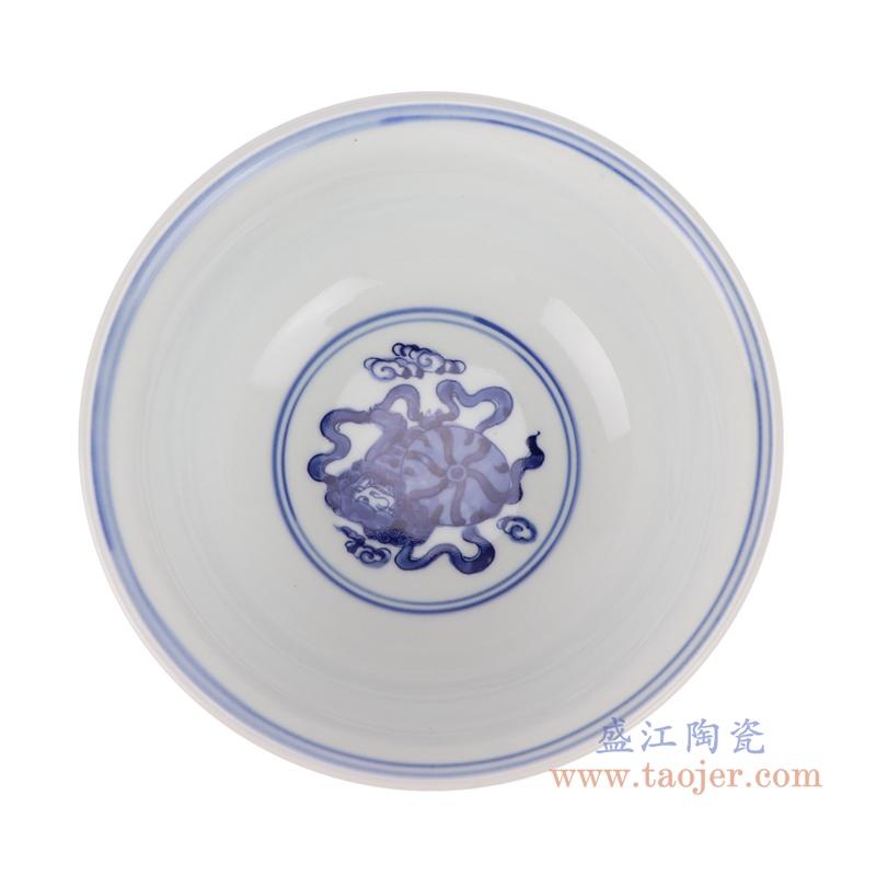 RYLU200-A青花狮子纹大碗内部
