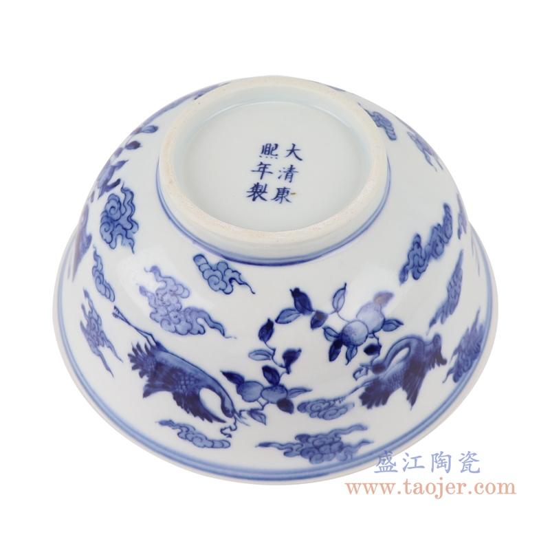RYLU200-B青花仙鹤纹大碗底部